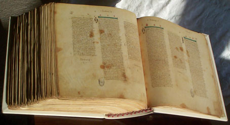 The Codex Vaticanus open, showing that each leaf has its original shape
